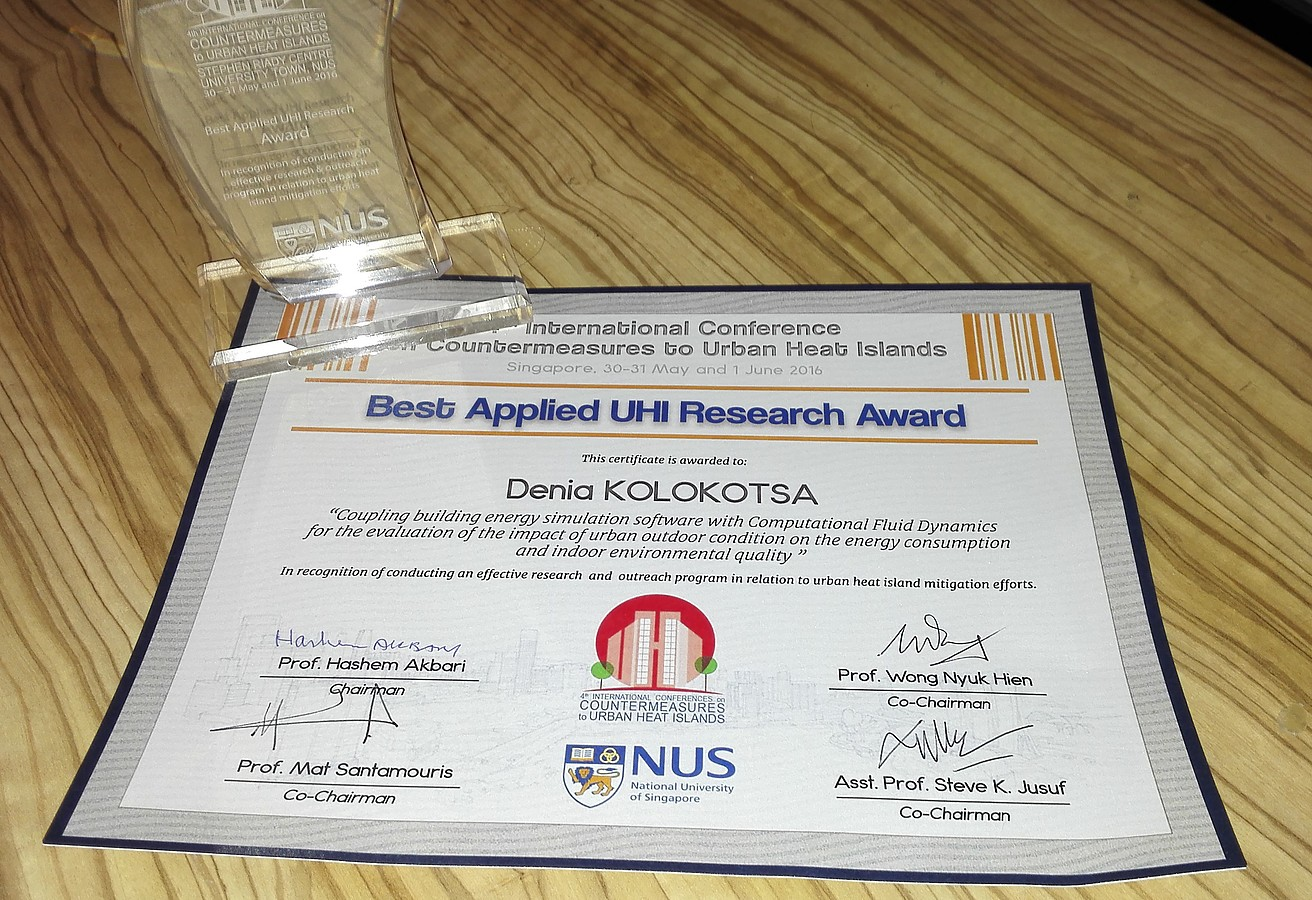 Best applied Urban Heat Island research award for EMBER