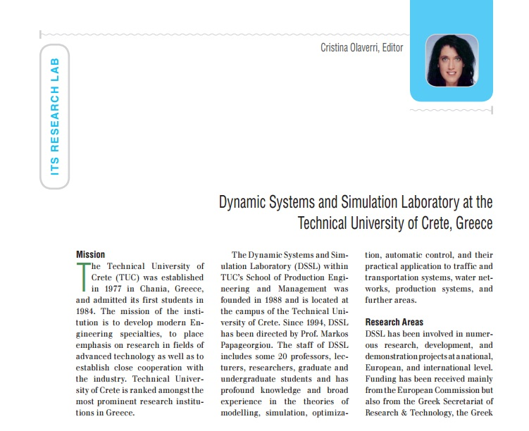 DSSL laboratory at the IEEE ITS magazine: Technical